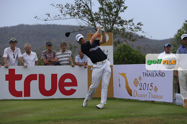 Michael Hoey (NIR) on the 9th tee during Round 2 of the True Thailand Classic at the Black Mountain Golf  Club on Friday 13th February 2015.<br /> Picture:  Thos Caffrey / www.golffile.ie
