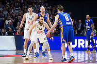 Real Madrid's Sergio Rodríguez and Willy Hernangómez and Khimki Moscow's Petteri Koponen and James Augustine during Euroleague match at Barclaycard Center in Madrid. April 07, 2016. (ALTERPHOTOS/Borja B.Hojas) /NortePhoto