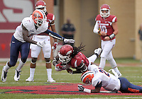 NWA Democrat-Gazette/BEN GOFF @NWABENGOFF<br /> Trent Trammell (left) and fellow UTEP defender Dashone Smith bring down Arkansas running back Alex Collins on Saturday Sept. 5, 2015 during the first quarter of the game in Razorback Stadium in Fayetteville.