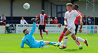 Lincoln United's Mikey Emery saves from Lincoln City's Jordan Adebayo-Smith<br /> <br /> Photographer Chris Vaughan/CameraSport<br /> <br /> Football Pre-Season Friendly (Community Festival of Lincolnshire) - Lincoln City v Lincoln United - Saturday 6th July 2019 - The Martin & Co Arena - Gainsborough<br /> <br /> World Copyright © 2018 CameraSport. All rights reserved. 43 Linden Ave. Countesthorpe. Leicester. England. LE8 5PG - Tel: +44 (0) 116 277 4147 - admin@camerasport.com - www.camerasport.com