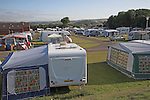 Caravans and tents at camp site, Minehead, Somerset, England