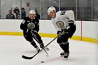 June 28, 2018: Boston Bruins forward Henry Bowlby (75) and defenseman Daniel Bukac (76) play for control of the puck during the Boston Bruins development camp held at Warrior Ice Arena in Brighton Mass. Eric Canha/CSM