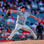 26 September 2018: Miami Marlins pitcher Wei-Yin Chen on the mound against the Washington Nationals at Nationals Park in Washington, DC. The Nationals defeated the visiting Marlins 9-3, closing out Washington's 2018 home season. Mandatory Credit: Ed Wolfstein Photo *** RAW (NEF) Image File Available ***