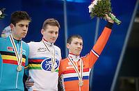 Elite Men's podium<br /> 1/ Mathieu Van der Poel (NLD)<br /> 2/ Wout Van Aert (BEL)<br /> 3/ Lars Van der Haar (NLD)<br /> <br /> 2015 UCI World Championships Cyclocross <br /> Tabor, Czech Republic