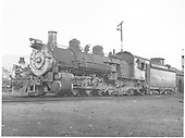 Left-side view of K-37 #497 with K-28 #476 mostly hidden in background.<br /> D&amp;RGW  Durango, CO  Taken by Payne, Andy M. - 11/4/1967