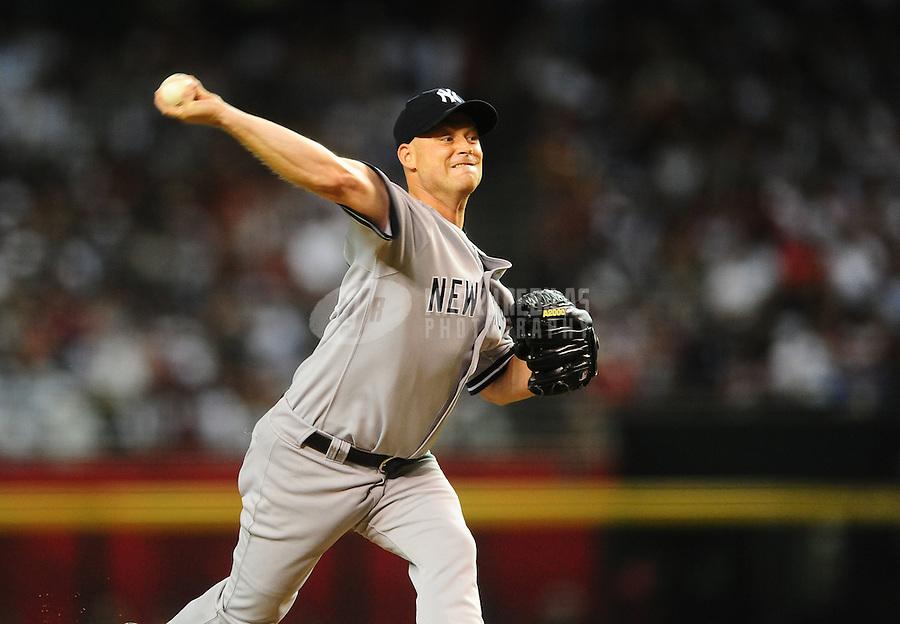Jun. 21, 2010; Phoenix, AZ, USA; New York Yankees pitcher Chad Gaudin against the Arizona Diamondbacks at Chase Field. Mandatory Credit: Mark J. Rebilas-