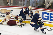 Michael Campoli (BC - 6), Jack Jenkins (Notre Dame - 28), Joe Wegwerth (Notre Dame - 21) - The Boston College Eagles defeated the University of Notre Dame Fighting Irish 6-4 (EN) on Saturday, January 28, 2017, at Kelley Rink in Conte Forum in Chestnut Hill, Massachusetts.The Boston College Eagles defeated the University of Notre Dame Fighting Irish 6-4 (EN) on Saturday, January 28, 2017, at Kelley Rink in Conte Forum in Chestnut Hill, Massachusetts.