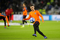Phil Foden of Manchester City warms up ahead of kick-off during Lyon vs Manchester City, UEFA Champions League Football at Groupama Stadium on 27th November 2018
