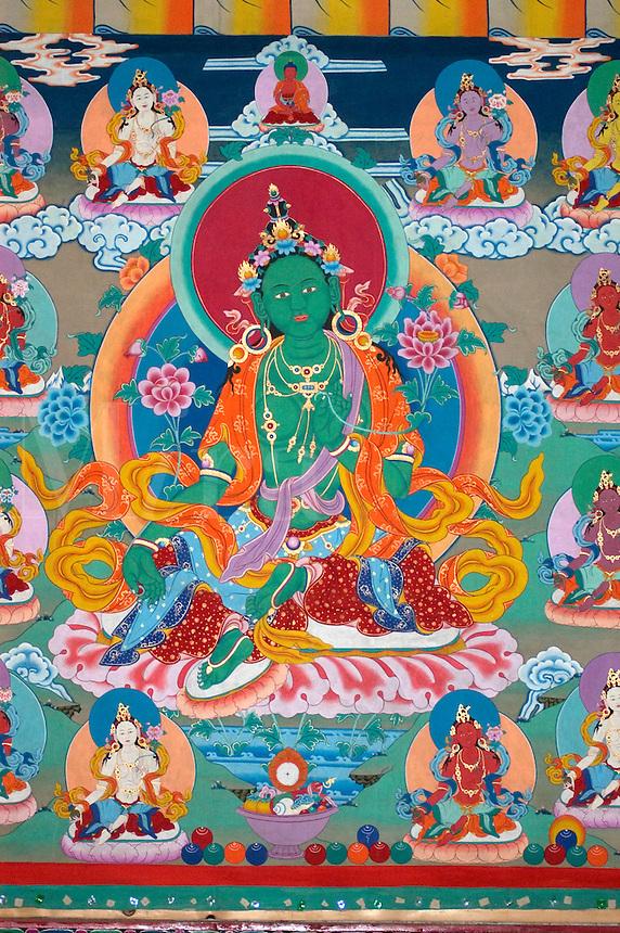 Mural of Green Tara in a Tibetan Monastery in Dabpa County, Kham - Sichuan Province, China, (Tibet)