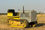 Bev Davis' Caterpillar Ten tractor, c1931; transition paint scheme--battleship gray to Caterpillar yellow, Calif.