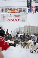 Nicolas Petit leaves the 2011 Iditarod ceremonial start line in downtown Anchorage, during the 2012 Iditarod..Jim R. Kohl/Iditarodphotos.com