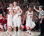 March 3, 2010: Wisconsin Badgers seniors Jason Bohannon (12) and Trevon Hughes (3) leave the Kohl Center court for the last time during a Big Ten Conference NCAA basketball game against the Iowa Hawkeyes on March 3, 2010 in Madison, Wisconsin. The Badgers won 67-40. (Photo by David Stluka)
