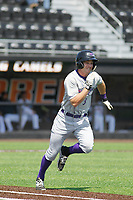 Winston-Salem Dash outfielder Jake Fincher (3) at bat during a game against the Buies Creek Astros at Jim Perry Stadium on the campus of Campbell University on April 9, 2017 in Buies Creek, North Carolina. Buies Creek defeated Winston-Salem 2-0. (Robert Gurganus/Four Seam Images)