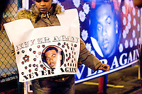 Community members, family members, and sympathizers hold a constant 24 hour vigil for Sean Bell across the street of the 103rd police precinct in Queens on January 5, 2007.<br /> <br /> The unarmed victim of a 50 shot barrage from undercover police offers on his wedding day on November 25, 2006 amid (at best) hazy circumstances.