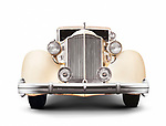 1935 Packard Twelve coupe roadster classic vintage luxury car front view isolated on white background with clipping path