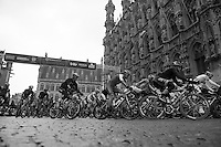 53rd Brabantse Pijl 2013..peloton passing over the start line in front of Leuven City Hall