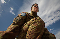 Primo CPL Maggiore Romina Mantelli, 24, from Colleferrro, FR,  from  first Platoon, Montebello Squadron, Fifth  Lancieri of Novara regiment of the Italian Cavalry conducts a routine maintenance   of a Centauro armored vehicle at the UNIFIL Chama base in Southern Lebanon on Saturday Dec 09 2006..Close to 1000 Italian peacekeepers operate in  the in Southern lebanon town of Chama, constantly patrolling their sector in search for illegal weapons in the country.