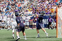 Connor Fields (#5) shoots from close range as Yale defeats UAlbany 20-11 in the NCAAA semifinal game at Gillette Stadium, May 26.
