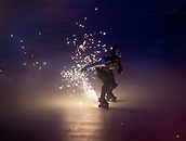 9th February 2018, Pyeongchang, South Korea; 2018 Winter Olympic Games; PyeongChang Olympic Stadium; A roller skater with sparking boots during the Opening Ceremony