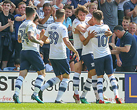 Preston North End players celebrate after Callum Robinson opened the scoring<br /> <br /> Photographer Alex Dodd/CameraSport<br /> <br /> The EFL Sky Bet Championship - Preston North End v Burton Albion - Sunday 6th May 2018 - Deepdale Stadium - Preston<br /> <br /> World Copyright &copy; 2018 CameraSport. All rights reserved. 43 Linden Ave. Countesthorpe. Leicester. England. LE8 5PG - Tel: +44 (0) 116 277 4147 - admin@camerasport.com - www.camerasport.com