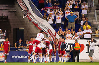 Markus Holgersson (5) of the New York Red Bulls celebrates scoring with teammates. The New York Red Bulls defeated the Houston Dynamo 2-0 during a Major League Soccer (MLS) match at Red Bull Arena in Harrison, NJ, on August 10, 2012.