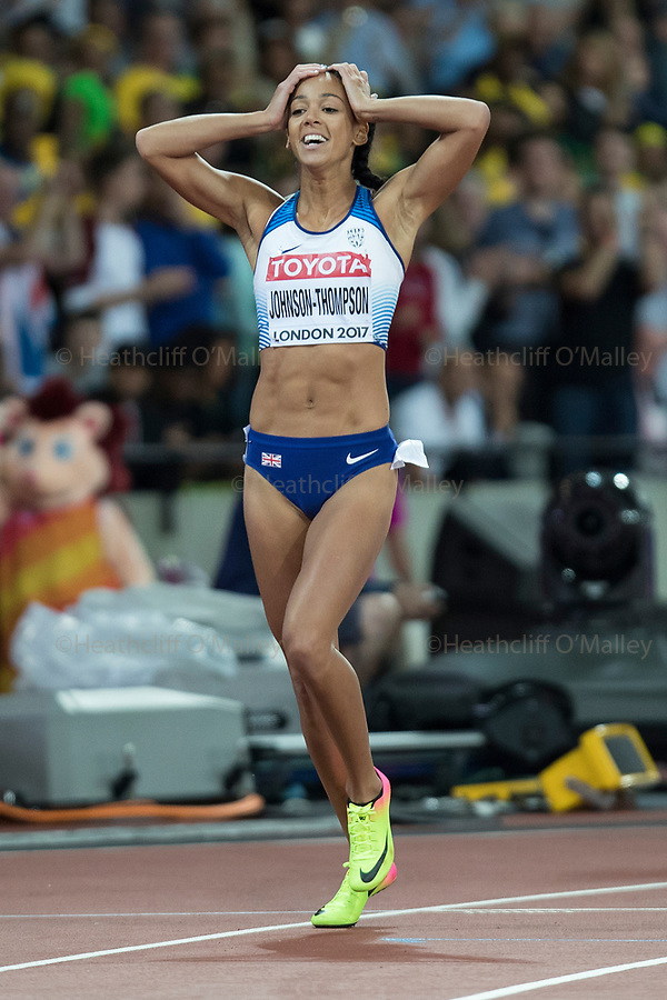 Mcc0078114 . Daily Telegraph<br /> <br /> DT Sport<br /> <br /> Katarina Thompson-Johnson in the Women's Heptathlon 200m .<br /> <br /> Day 2 of the IAAF World Championships at the London Stadium in Stratford .<br /> <br /> 5 August 2017