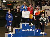 Arik Robinson (1st - Peru); Dylan Kavanaugh (2nd - Vernon Verona); Colton Perry (3rd - Windsor); Colton Dalberth (4th - Marion); Dan Haughton (5th - Dolgeville); and Noah Valastro (Hudson Falls) pose on the podium for the Division Two 96 weight class during the NY State Wrestling Championships at Blue Cross Arena on March 9, 2009 in Rochester, New York.  (Copyright Mike Janes Photography)