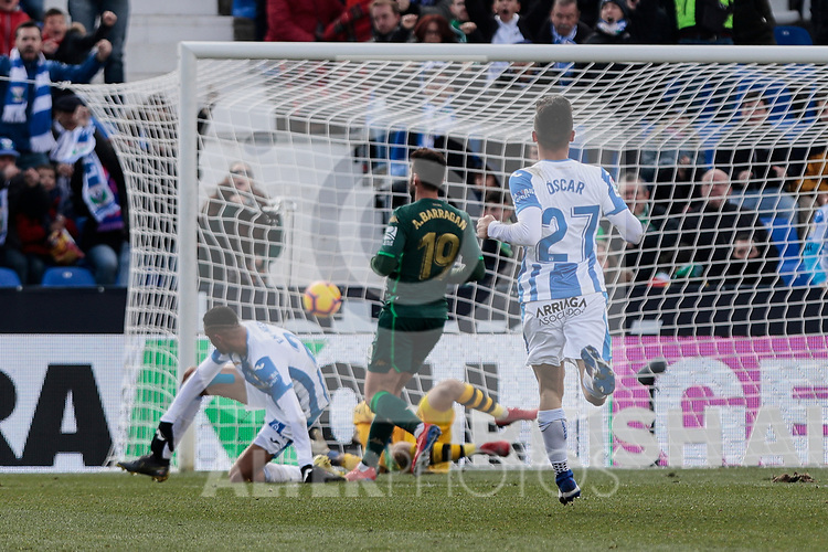 CD Leganes's Youssef En-Nesyri and Real Betis Balompie's Pau Lopez during La Liga match between CD Leganes and Real Betis Balompie at Butarque Stadium in Madrid, Spain. February 10, 2019. (ALTERPHOTOS/A. Perez Meca)