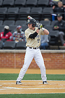 Ben Breazeale (9) of the Wake Forest Demon Deacons at bat against the Harvard Crimson at David F. Couch Ballpark on March 5, 2016 in Winston-Salem, North Carolina.  The Crimson defeated the Demon Deacons 6-3.  (Brian Westerholt/Four Seam Images)