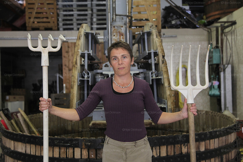 Dominique Moreau, female vigneron, holding a rake and pitchfork, for working the grapes in the pressoir, an 18thC wine press, at her domaine brand 'Marie-Courtin'. at Polisot, Champagne Ardennes..A new generation of vignerons around Troyes, city of the Aube, the forgotten region of Champagne, France. These new, but not necessarily young, producers, make Champagnes that are in many ways anti-Champagnes. Where Champagne for a century has made a myth of the art of blending, in which the usual distinctions of terroir, grape and vintage disappear into the house blend, these producers take a Burgundian approach to making Champagne, emphasizing all these qualities that are taken for granted as important in other regions but are largely ignored in Champagne. In a sense they each are a microcosm for larger changes taking place throughout the Champagne region, not just in the Cote des Bars, and for changing perceptions of Champagne on the part of American consumers