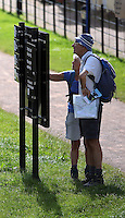WEATHER PICTURE WALES<br /> Pictured: A couple check on a map as they walk by Brecon Canal, Wales, UK. Monday 18 July 2016<br /> Re: Sunshine and high temperatures are due to affect most of the UK this week.
