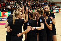10.09.2017 Silver Ferns in action during the Taini Jamison Trophy match between the Silver Ferns and England at Pettigrew Green Arena in Napier. Mandatory Photo Credit ©Michael Bradley.