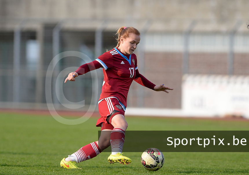 20150406 - MELUN , FRANCE  : Russian Ksenia Aniskina pictured during the soccer match between Women Under 19 teams of Iceland and Russia , on the second matchday in group 3 of the UEFA Elite Round Women Under 19 at Stade Municipal , Melun , France . Monday 6th April 2015 . PHOTO DAVID CATRY