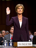 """Former Acting Attorney General of the United States Sally Q. Yates is sworn-in to testify before the US Senate Committee on the Judiciary Subcommittee on Crime and Terrorism hearing titled """"Russian Interference in the 2016 United States Election"""" on Capitol Hill in Washington, DC on Monday, May 8, 2017.<br /> Credit: Ron Sachs / CNP<br /> (RESTRICTION: NO New York or New Jersey Newspapers or newspapers within a 75 mile radius of New York City)"""