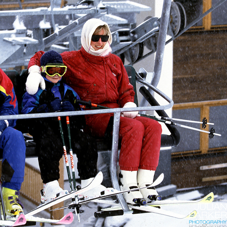 Diana,The Princess of Wales, with Prince Harry on a ski Lift in Lech, Austria, during an annual ski holiday