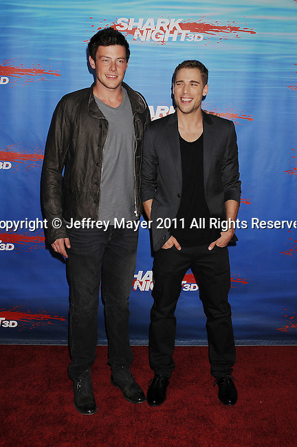 "UNIVERSAL CITY, CA - SEPTEMBER 01: Cory Monteith and Dustin Milligan arrive at the ""Shark Night 3D"" Los Angeles Premiere held at Universal City Walk on September 1, 2011 in Universal City, California."