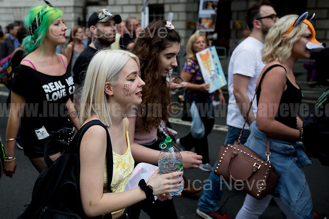 London, 29/05/2017. Today, thousands of animal rights protesters and members of the public, lead by &quot;Keep The Ban&quot;, gathered in Cavendish Square to march through Central London against the electoral pledge made by the Conservative Party of Theresa May to offer Parliament a free vote to repeal the ban on fox hunting. The march - claimed to be the largest public protest of the entire General Election campaign - was patrolled by heavy police presence and ended peacefully and loudly outside Downing Street.<br />