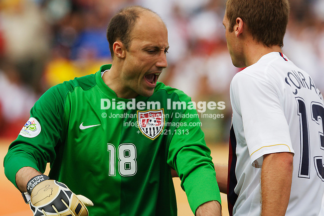 NUREMBERG, GERMANY - JUNE 22:  United States goalkeeper Kasey Keller in action during a 2006 FIFA World Cup soccer match against Ghana June 22, 2006 in Nuremberg, Germany.  (Photograph by Jonathan P. Larsen)