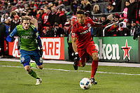 Toronto, ON, Canada - Saturday Dec. 10, 2016: Erik Friberg, Justin Morrow during the MLS Cup finals at BMO Field. The Seattle Sounders FC defeated Toronto FC on penalty kicks after playing a scoreless game.