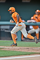 Tennessee Volunteers center fielder Brodie Leftridge (1) runs to first base during a game against the South Carolina Gamecocks at Lindsey Nelson Stadium on March 18, 2017 in Knoxville, Tennessee. The Gamecocks defeated Volunteers 6-5. (Tony Farlow/Four Seam Images)