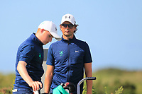Neil Manchip (National Coach) keeping an eye on Ronan Mullarney from Ireland on the 2nd tee during Round 1 Singles of the Men's Home Internationals 2018 at Conwy Golf Club, Conwy, Wales on Wednesday 12th September 2018.<br /> Picture: Thos Caffrey / Golffile<br /> <br /> All photo usage must carry mandatory copyright credit (© Golffile | Thos Caffrey)