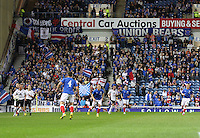 The Blue Order and Union Bears in the Rangers v Queen of the South Quarter Final match in the Ramsdens Cup played at Ibrox Stadium, Glasgow on 18.9.12.