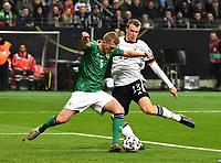19th November 2019, Frankfurt, Germany; 2020 European Championships qualification, Germany versus Northern Ireland;  George Saville Northern Ireland challenged by Lukas Klostermann Germany