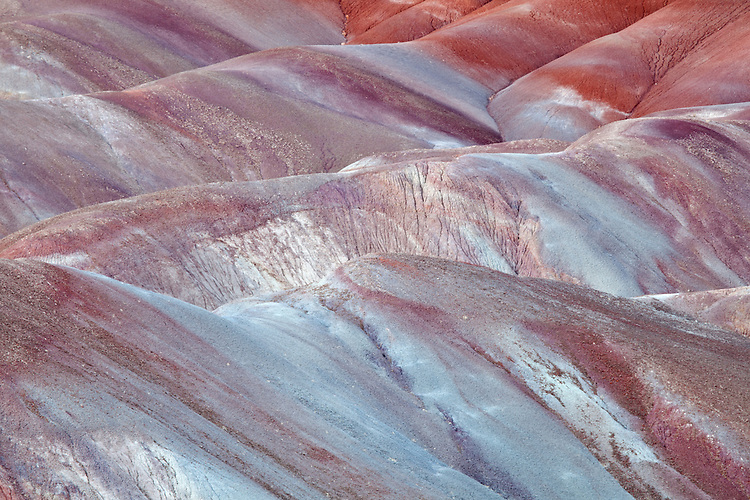 Striated bentonite clay beds in the  Paria Canyon-Vermilion Cliffs Wilderness Area, Vermilion Cliffs National Monument, Utah, United States of America