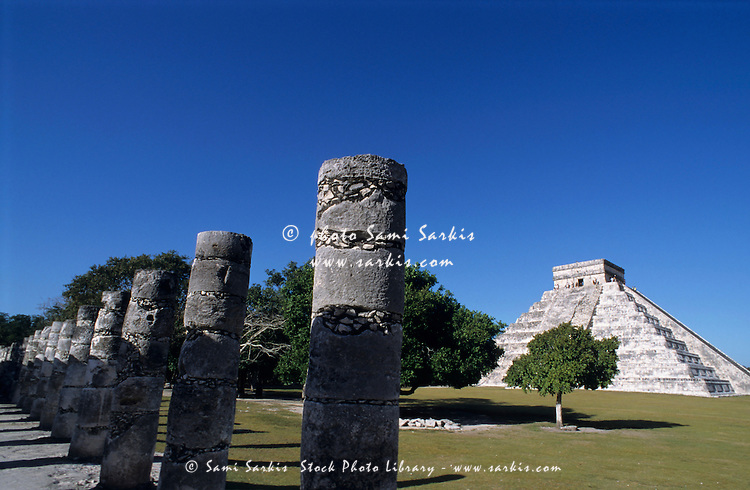 Pyramid of Kukulcan Castle seen from the group of One Thousand Columns at the ancient site of Chichen Itza, Yucatan, Mexico.