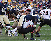 Pitt linebacker Eric Williams (49) sacks Gardner-Webb quarterback Lucas Beatty (8). The Pitt Panthers defeated the Gardner-Webb Runnin Bulldogs 55-10 at Heinz Field, Pittsburgh PA on September 22, 2012..