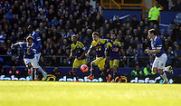 Pictured: Pablo Hernandez of Swansea (C) charges forward. Sunday 16 February 2014<br />