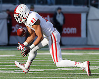 Indiana Hoosiers tight end Jordan Fuchs (81) fumbles the ball in the fourth quarter of their game at Ohio Stadium in Columbus, Ohio on November 22, 2014. (Columbus Dispatch photo by Brooke LaValley)
