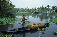INDIA, Kerala, Allepey, Backwaters, processing of coconut fibre for coir industry, boatsman transport coconut fibre by boat to factory / INDIEN, Kerala, Verarbeitung von Kokosnüßen zu Kokosfasern Coir, Transport von Kokosfasern mit dem Boot zur Fabrik