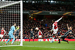 Danny Welbeck of Arsenal has a late chance saved during the UEFA Europa League Quarter-Final 1st leg match at the Emirates Stadium, London. Picture date 5th April 2018. Picture credit should read: Charlie Forgham-Bailey/Sportimage